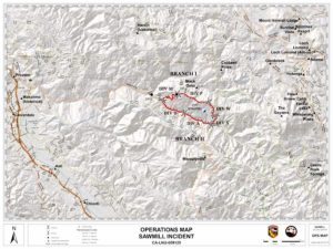 A CalFire incident map of the Sawmill Fire.
